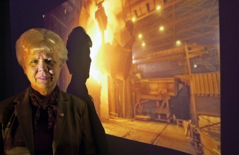 "APRIL 9, 2003: Jean H. Frazier, Supervisor of Administration, President's Office of Sparrows Point Beth Steel, is pictured in front of a slide of one of the plant furnaces. Frazier has been at the company for 40 years, and has served as the ""right-hand man"" of several plant general managers. The company will change hands some time in late April/early May as part of a $1.5 billion sale to International Steel Group Inc. (Algerina Perna/Baltimore Sun)"