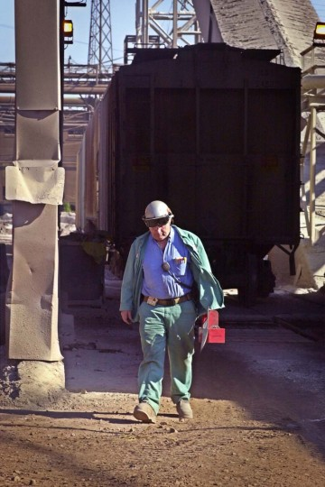 APRIL 24, 2003: Larry Shupe, working coordinator for the basic oxygen furnace at Bethlehem steel, heads to the furnace to repair a roll on the conveyor belt. (Algerina Perna/Baltimore Sun)