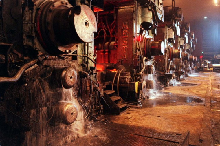 AUGUST 10, 1999: Water is used to cool slabs of molten steel in the hot strip mill at Bethlehem Steel Corporation's Sparrow's Point division. The steel plant uses at least 300 million gallons of water per day, mostly as an absorber of heat in various processes. (Callie Lipkin/Baltimore Sun)