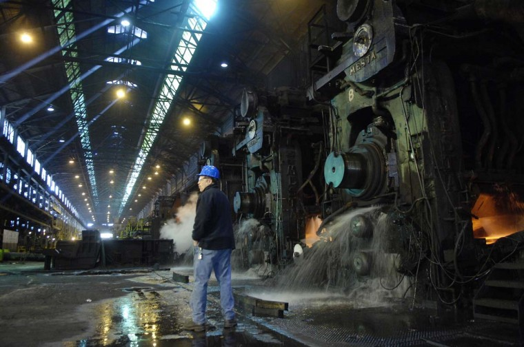 MARCH 21, 2008: Ownership at Sparrows Point has changed hands again. OAO Severstal, a Russian steel company, recently acquired the steel mill in a trust sale. Union leader John Cirri, President of Local 9477 of the USW, and Sparrows Point GM Tom Russo are hopeful the sale will inject capital into the plant and they can ramp up to full production and create some new jobs. (Andre F. Chung/Baltimore Sun)