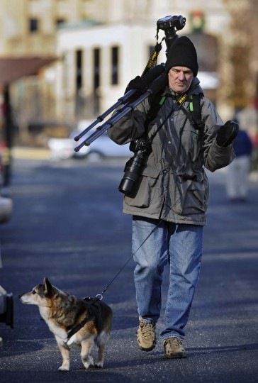 Photographer Bill Patrick, of Montclair, N.J., and partner Bruce, return to their car for a break before returning to photograph bald eagles in the afternoon at Conowingo Dam. This is their first time at Conowingo Dam. (Kenneth K. Lam/The Baltimore Sun)