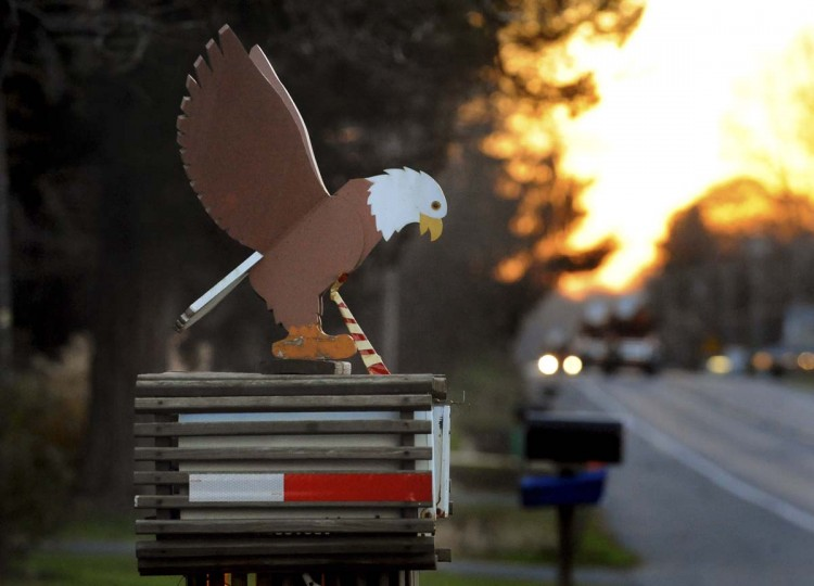 A mailbox featuring a bald eagle is in front of a house along Route One leading to Conowingo Dam. (Kenneth K. Lam/The Baltimore Sun)