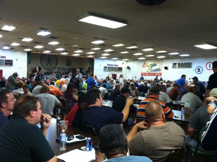 AUGUST 20, 2012: Sparrows Point workers overflowed the United Steelworkers Local 9477 Dundalk Avenue hall Monday for the first union meeting after the steel mill was auctioned off. (Jamie Smith Hopkins/Baltimore Sun)