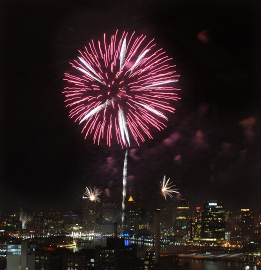 Fireworks ring in the new year as seen from Silo Point. (Algerina Perna/Baltimore Sun)