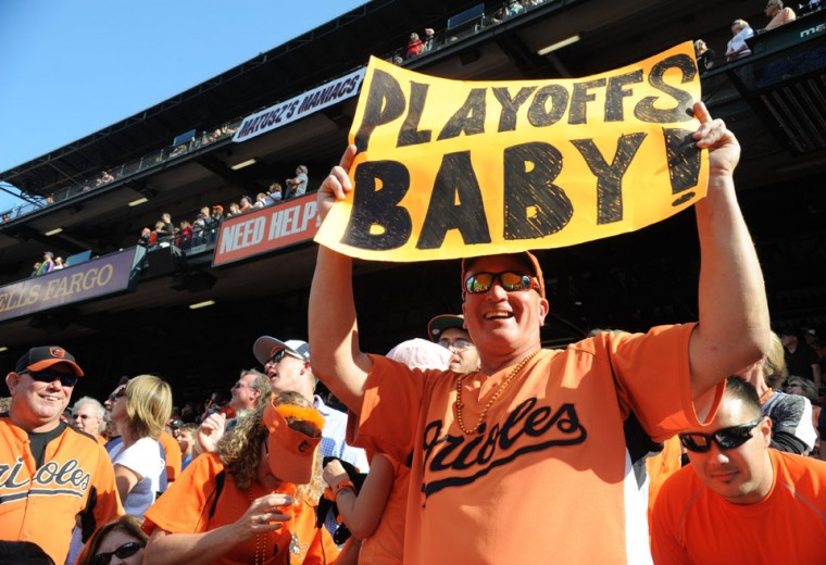 Oct. 1: The O's are In: David Gibson from Brooklyn Park shows his Orioles support with a sign. Baltimore Orioles beat the Boston Red Sox at Oriole Park at Camden Yards with a score of 6-3. (Algerina Perna/Baltimore Sun)