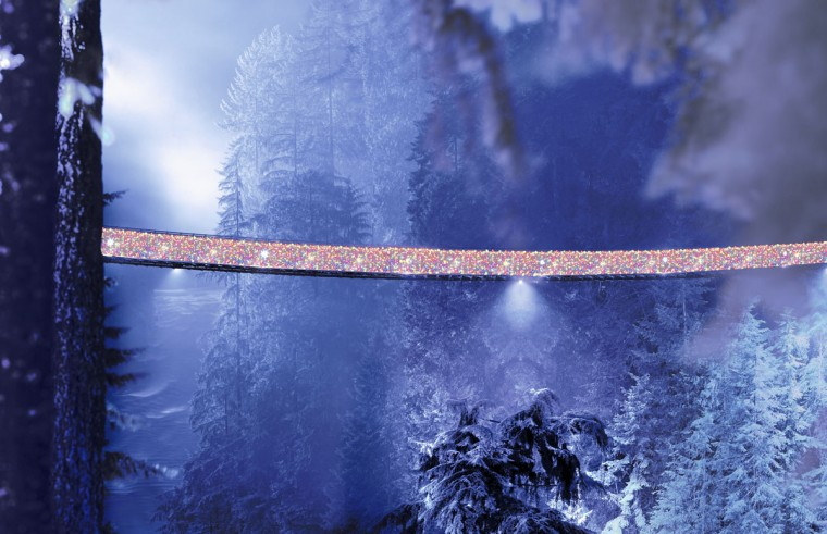 Christmas lights adorn the Capilano Suspension Bridge in North Vancouver, British Columbia, Canada. Originally built in 1889, the bridge stretches roughly 140 meters across and is situated 70 meters above the Capilano River. (Courtesy of Capilano Suspension Bridge Park/MCT Photo)
