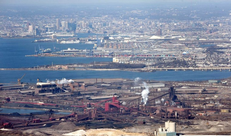FEBRUARY 23, 2012: Aerial view of Sparrows Point and the Port of Baltimore. (Kim Hairston/Baltimore Sun)
