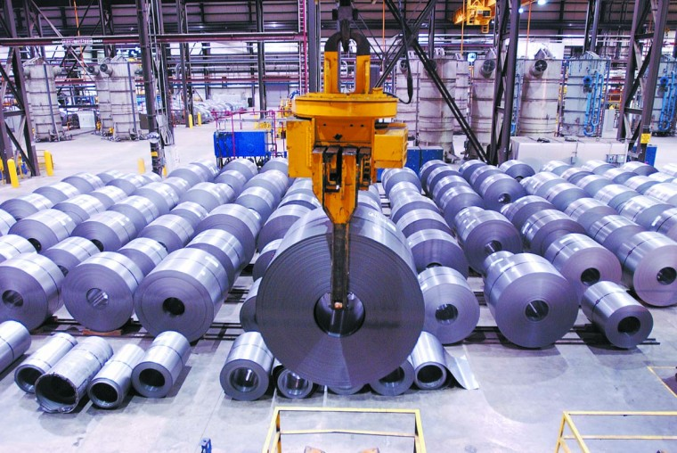 MARCH 11, 2002: Rolls of sheet metal at the Cold Sheet Mill, a $300 million facility which opened in the fall of 2000 at Sparrows Point steel plant. (Jason Lee/Patuxent Publishing)