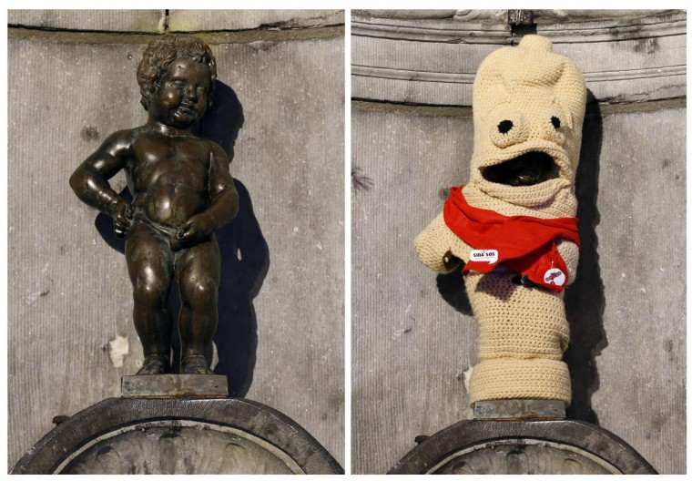 This combo picture shows the famous Belgian statue Manneken Pis (literally translated as Little Man Pee) before and after it was dressed as a condom during an event commemorating World AIDS Day in central Brussels. (Francois Lenoir/Reuters)
