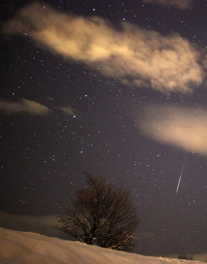A meteor streaks past stars in the night sky over the village of Pesevici, near Zenica, 80 km (49 miles) from the capital Sarajevo, December 14, 2012. (Dado Ruvic/Reuters)