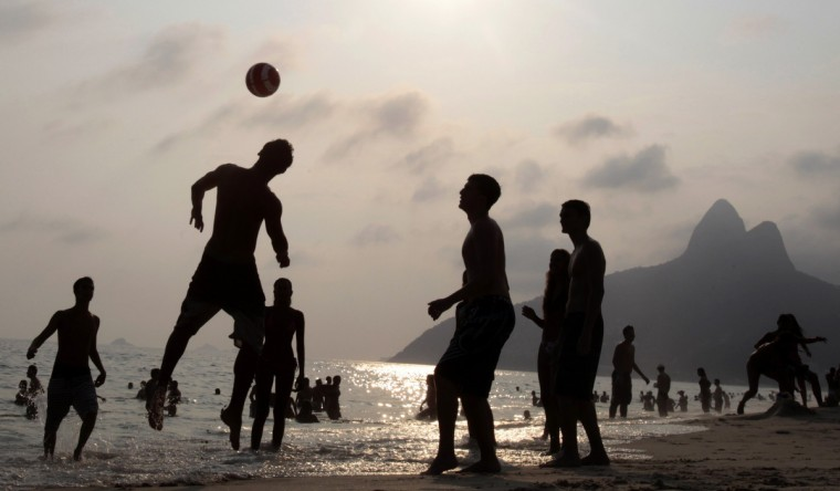 People play soccer at Ipanema beach during a summer's day in Rio de Janeiro. (Sergio Moraes/Reuters)