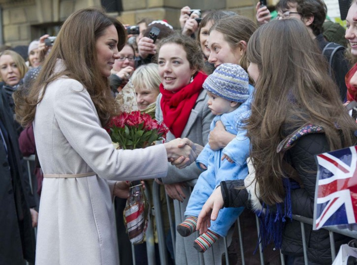 Britain's Catherine, Duchess of Cambridge are seen speaking to members of the public following a visit to the Guildhall in Cambridge, central England in this November 28, 2012 file photograph. (Arthur Edwards/Pool/Reuters)