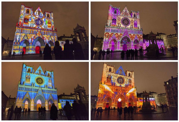 "A combo picture shows Les Chrysalides de Saint-Jean installation by artist Damien Fontaine at the Saint-Jean Cathedral during the rehearsal for the ""Festival of Lightsî in central Lyon late in the night. The Festival of Lights, with designers from all over the world, is one of Lyonís most famous Festivals to date and will run from December 6 to December 9, 2012. (Robert Pratta/Reuters photo)"