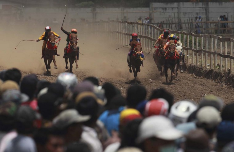 Child jockeys race their horses at a racetrack outside Bima. The reward, for the winner is a handful of cash for his family, and glory for the jockey. The grand prize is one million rupiah ($100). Those who win their groups get two cows. Picture taken November 18, 2012. (Beawiharta/Reuters)