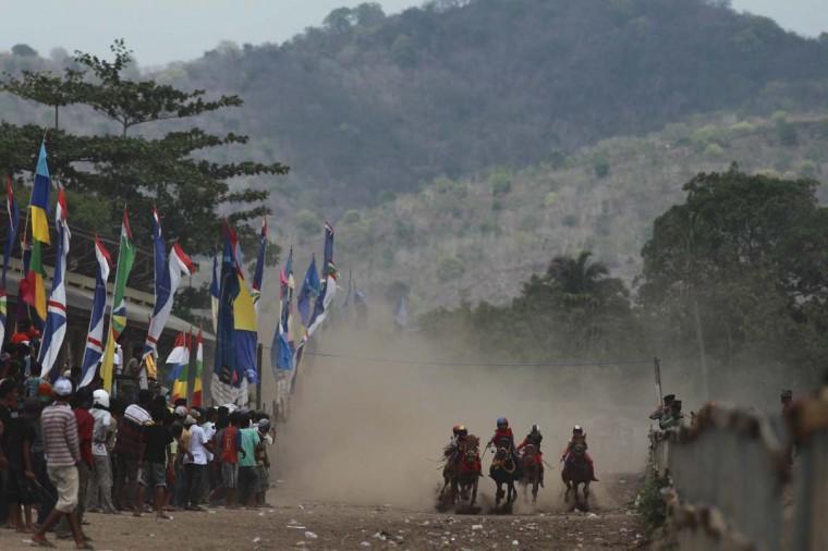 Child jockeys race their horses at a racetrack outside Bima. Picture taken November 18, 2012. (Beawiharta/Reuters)
