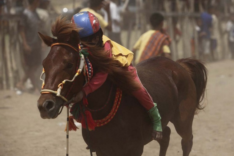A child jockey hugs his horse after finishing a race at Panda racetrack outside Bima. Picture taken November 18, 2012. (Beawiharta/Reuters)