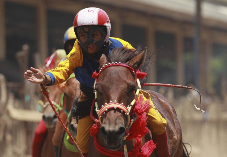 A child jockey raises his hand after winning a race at Panda racetrack, outside Bima. Picture taken November 18, 2012. (Beawiharta/Reuters)