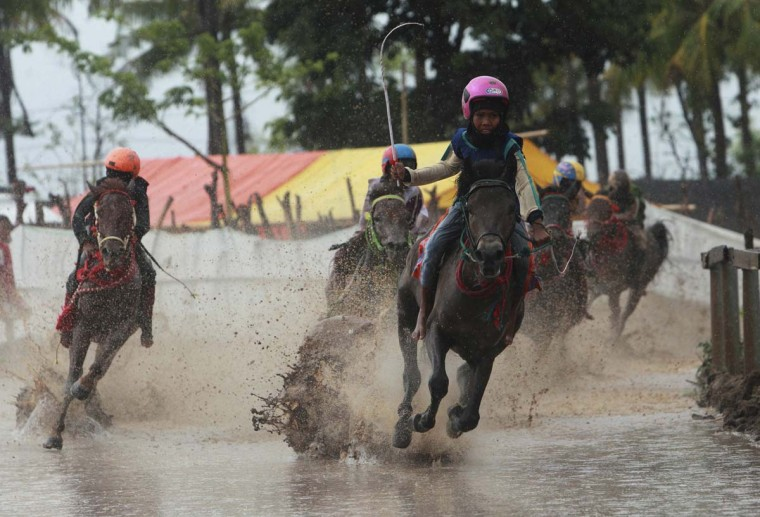 Child jockeys race their horses during a final race at Panda horsetrack outside Bima. Picture taken November 17, 2012. (Beawiharta/Reuters)