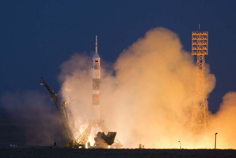 The Soyuz TMA-07M spacecraft carrying the International Space Station (ISS) crew of U.S. astronaut Thomas Marshburn, Russian cosmonaut Roman Romanenko and Canadian astronaut Chris Hadfield blasts off from its launch pad at the Baikonur cosmodrome December 19, 2012. (Shamil Zhumatov/Reuters)