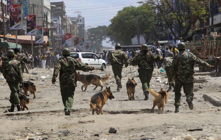 Policemen use trained dogs to disperse rioters during the second day of skirmishes in the Eastleigh neighborhood of Kenya's capital Nairobi, November 19, 2012. (Thomas Mukoya/Reuters)
