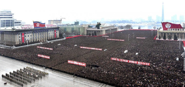 North Koreans attend a rally to celebrate the successful launch of the Unha-3 (Milky Way 3) rocket, which carried the second version of the Kwangmyongsong-3 satellite, at the Kim Il Sung square in Pyongyang in this picture released by the North's KCNA news agency on Friday. (KCNA/Reuters)