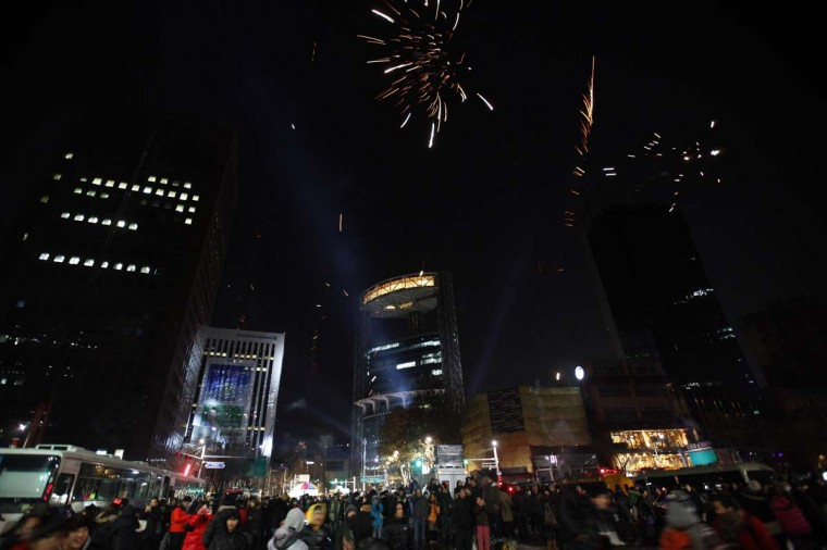 Revellers watch as fireworks go off as they welcome the new year near the Bosingak pavilion in central Seoul January 1, 2013. (Kim Hong-Ji/Reuters)