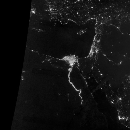 The area near the Nile River valley and delta on the night of October 13, 2012. (NASA Earth Observatory)