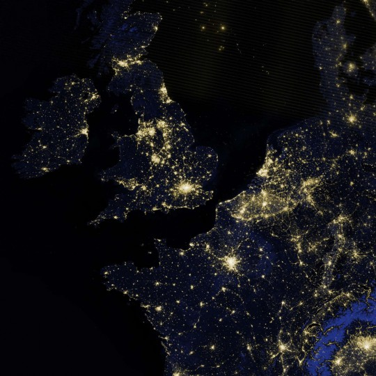 Britain, Ireland and part of Western Europe as it appeared on the night of March 27, 2012. (NASA Earth Observatory)