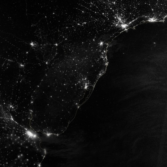 Part of the Atlantic coast of South America on the night of June 20, 2012. (NASA Earth Observatory)