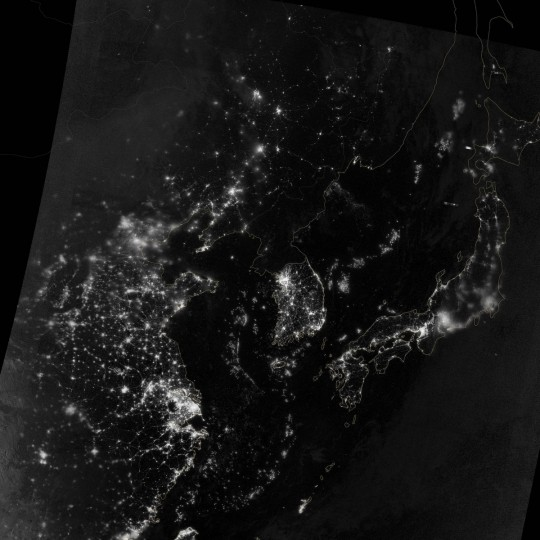 The area near the Korean Peninsula on the night of September 24, 2012. (NASA Earth Observatory)