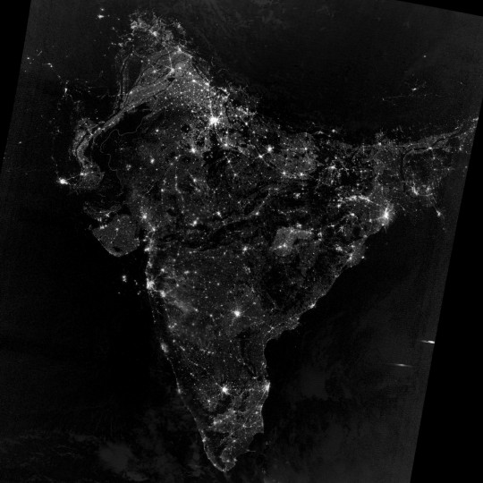 South Asia during Diwali celebrations on the night of November 12, 2012. (NASA Earth Observatory)