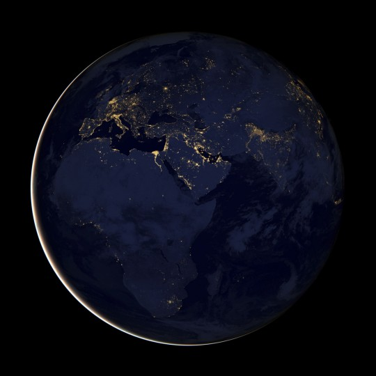 Europe, Africa, and the Middle East at night, assembled from data acquired by the Suomi NPP satellite in April and October 2012. (NASA Earth Observatory)