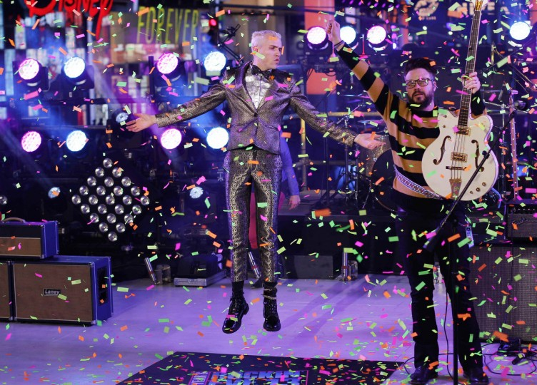 Neon Trees perform during celebrations ahead of New Year's in Times Square in New York December 31, 2012. (Joshua Lott/Reuters)