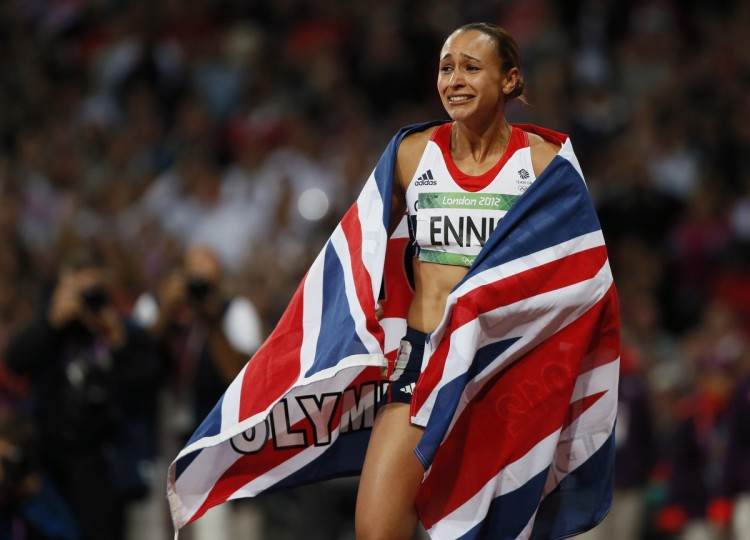 Britain's Jessica Ennis celebrates winning her women's heptathlon 800m heat at the London 2012 Olympic Games at the Olympic Stadium August 4, 2012. Ennis was the overall winner in the heptathlon. (Lucy Nicholson/Reuters)