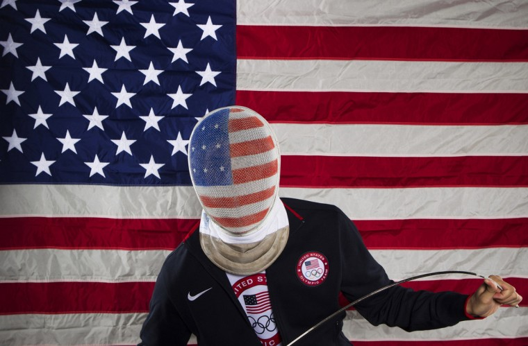 Fencer Alexander Massialas poses for a portrait during the 2012 U.S. Olympic Team Media Summit in Dallas, Texas May 13, 2012. (Lucas Jackson/Reuters)