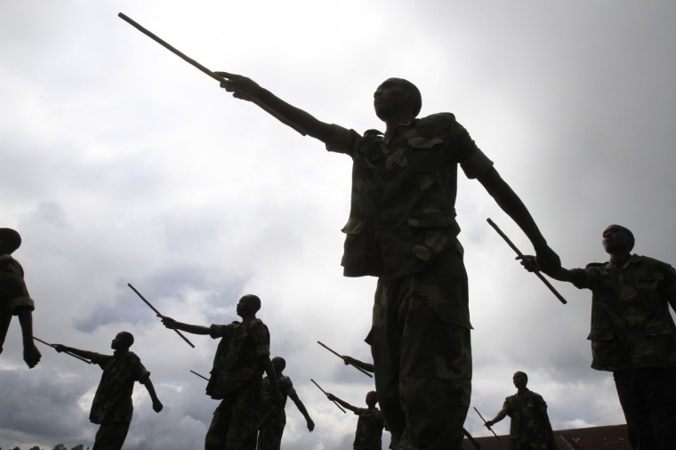 Recruits of the newly formed Congolese Revolutionary Army march during military training in Rumangabo military camp, Democratic Republic of Congo, October 23, 2012. The M23 Movement, the newly formed political wing of former M23 rebels, has formed a semi autonomous administration structure in areas under their control in north Kivu province in the DRC. (James Akena/Reuters)