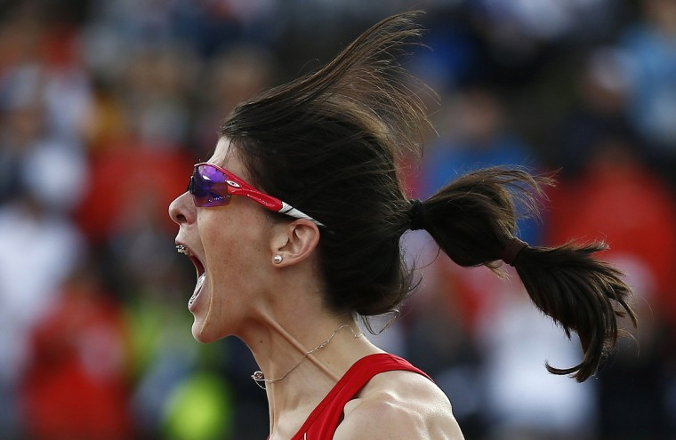 Ruth Beitia of Spain reacts after winning the women's high jump final at the European Athletics Championships in Helsinki June 28, 2012. (Dominic Ebenbichler/Reuters)