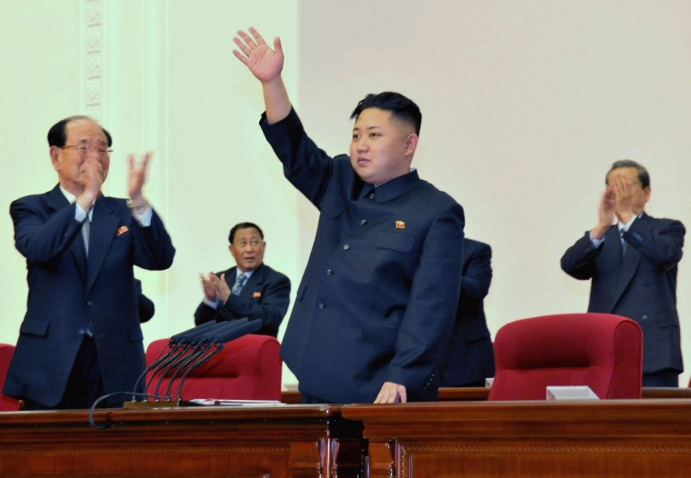 """North Korean leader Kim Jong-Un (C) waves during the Fourth Conference of the Workers' Party of Korea (WPK) in Pyongyang April 11, 2012, and released on April 12, 2012. WPK named Kim as """"first secretary,"""" on Wednesday, the official KCNA news agency said. (Reuters)"""