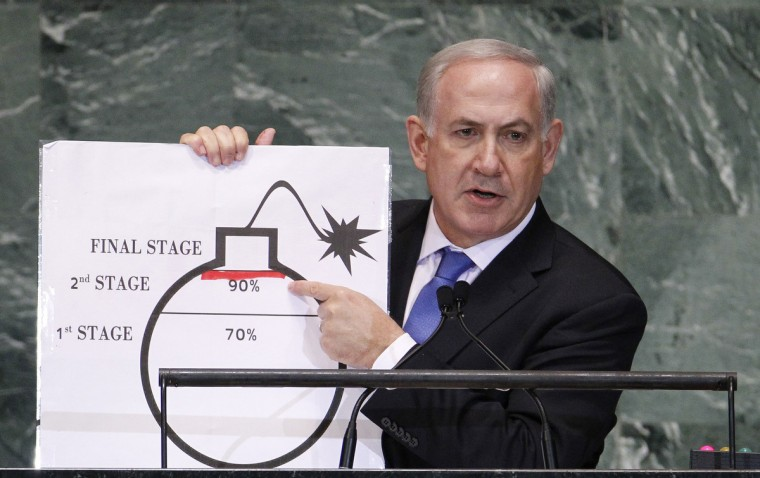 Israel's Prime Minister Benjamin Netanyahu points to a red line he has drawn on the graphic of a bomb as he addresses the 67th United Nations General Assembly at the U.N. Headquarters in New York, September 27, 2012. (Lucas Jackson/Reuters)