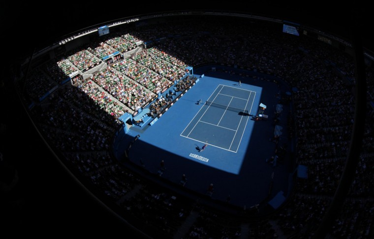 Maria Sharapova of Russia plays against Petra Kvitova of the Czech Republic during their women's singles semi-final match at the Rod Laver Arena of the Australian Open tennis tournament in Melbourne January 26, 2012. (Daniel Munoz/Reuters)