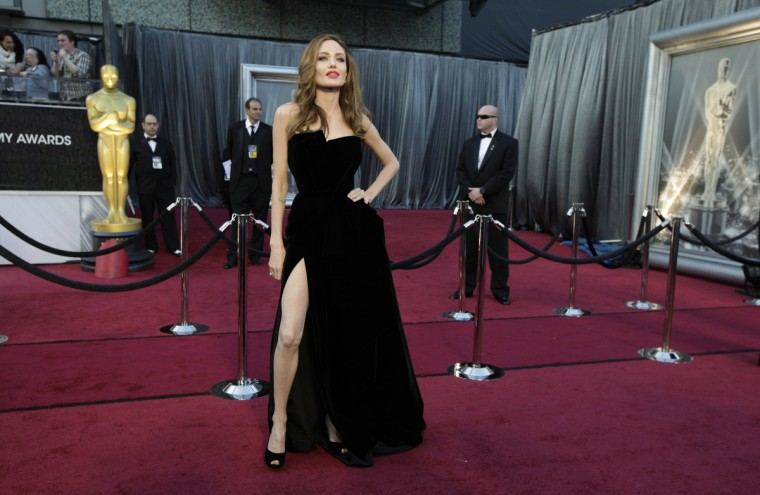 Actress Angelina Jolie poses at the 84th Academy Awards in Hollywood, California, February 26, 2012. (Lucy Nicholson/Reuters)