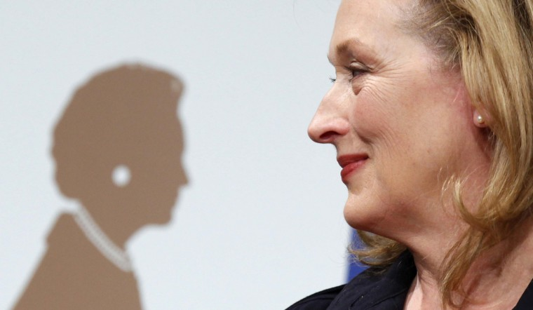"""U.S. actress Meryl Streep attends a news conference for her film """"The Iron Lady"""" in Tokyo March 7, 2012. The film, for which Streep won the best actress Oscar at the 84th Academy Awards, opens in Japan from March 16, 2012. (Yuriko Nakao/Reuters)"""