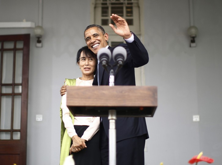 U.S. President Barack Obama (R) hugs Aung San Suu Kyi at the end of their remarks to the media at her residence in Yangon. President Obama became the first serving U.S. president to visit Myanmar on Monday, trying during a whirlwind six-hour trip to strike a balance between praising the government's progress in shaking off military rule and pressing for more reform. (Jason Reed/Reuters)