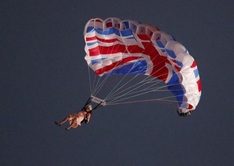 Britain's Queen Elizabeth parachutes