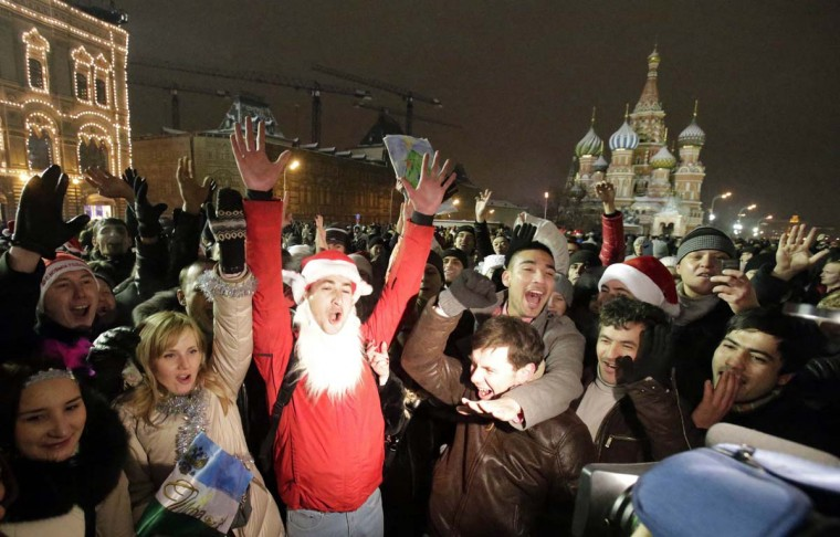 People celebrate ahead of New Year's Day in Red Square in Moscow December 31, 2012. (Tatyana Makeyeva/Reuters)