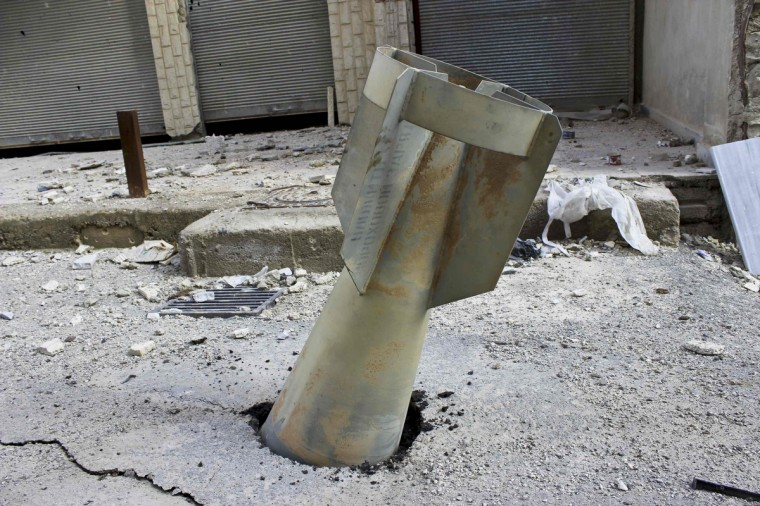 An unexploded ordnance is seen in the Ain Terma area in Ghouta, east of Damascus. (Karm Seif/Shaam News Network/via Reuters)