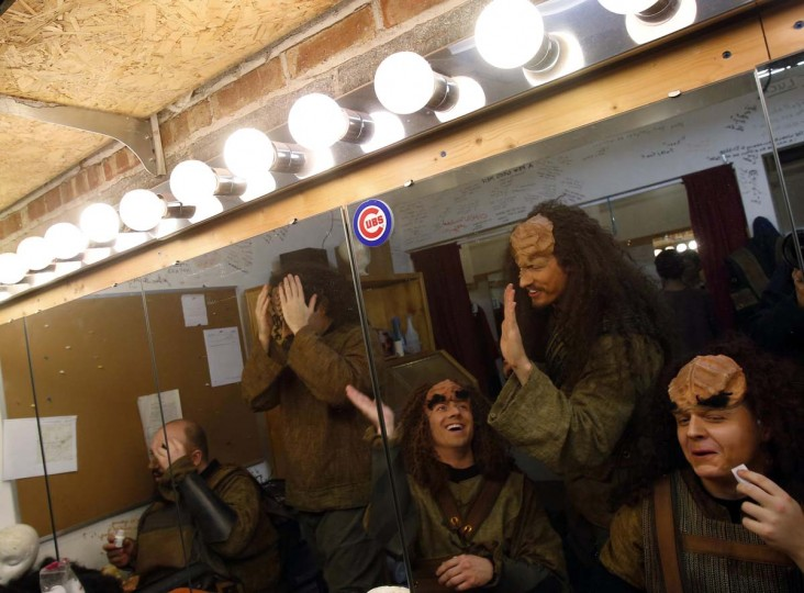 "Performers joke around as they they prepare backstage for a performance of ""A Klingon Christmas Carol"" in Chicago, December 20, 2012. (Jim Young/Reuters)"