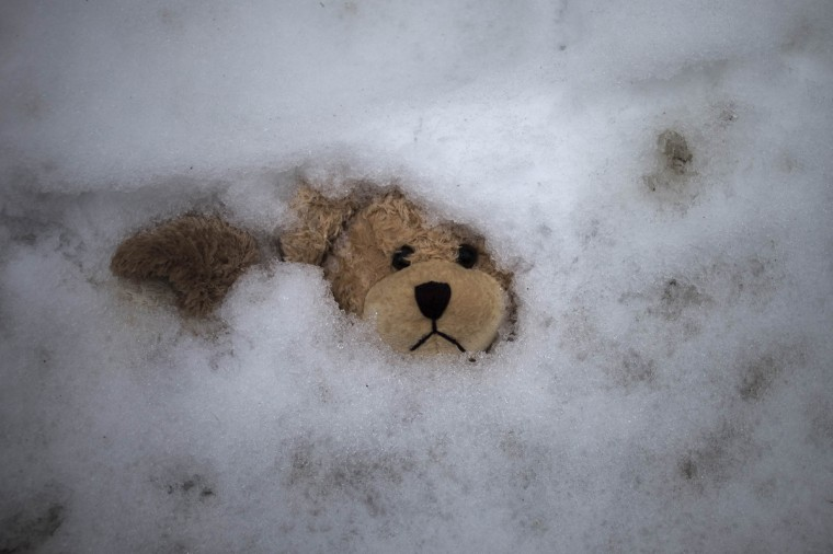 A stuffed bear lying at a memorial is blanketed by snow after an overnight snowfall near Sandy Hook Elementary School, where a gunman on December 14 armed with a military-style assault rifle shot dead 20 children and six adults in Newtown, Connecticut. (Adrees Latif/Reuters)