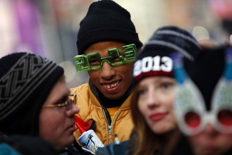 Revelers gather in Time Square before celebrating the New Year in New York December 31, 2012. (Joshua Lott/Reuters)