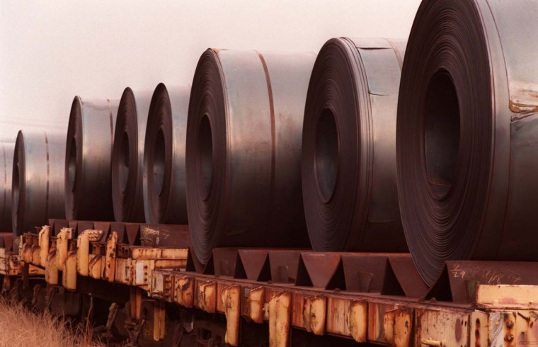 JANUARY 20, 1999: Coils of steel sit on a railroad car after being manufactured in the hot strip mill at the Bethlehem Steel Sparrow's Point plant. (Perry Thorsvik/Baltimore Sun)